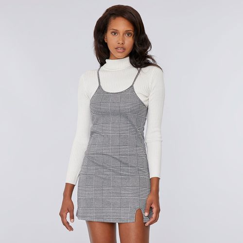 Vestido Corto Pabilo Checks Gris - Mujer